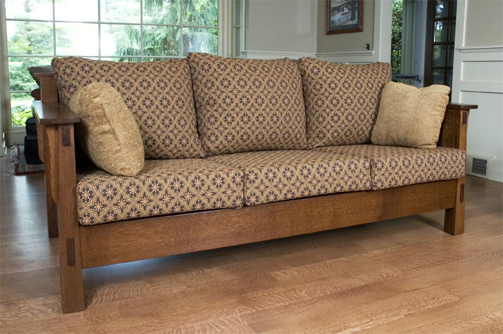 Wolfe High Back Sofa In Quartersawn White Oak With Asbury Brown Stain
