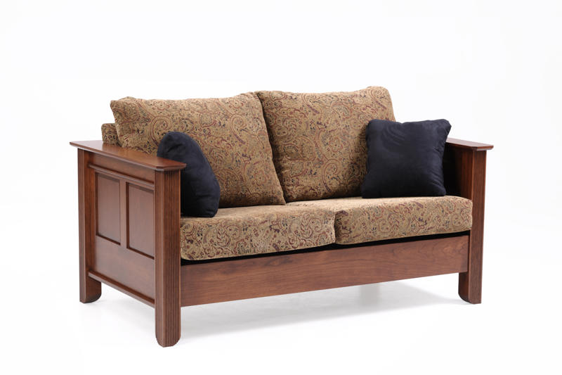 Arlington Loveseat in Fabric with Two Throw Pillows