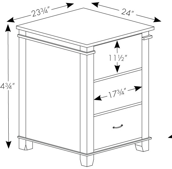 Arlington Large 3 Drawer File Cabinet In Solid Hardwood