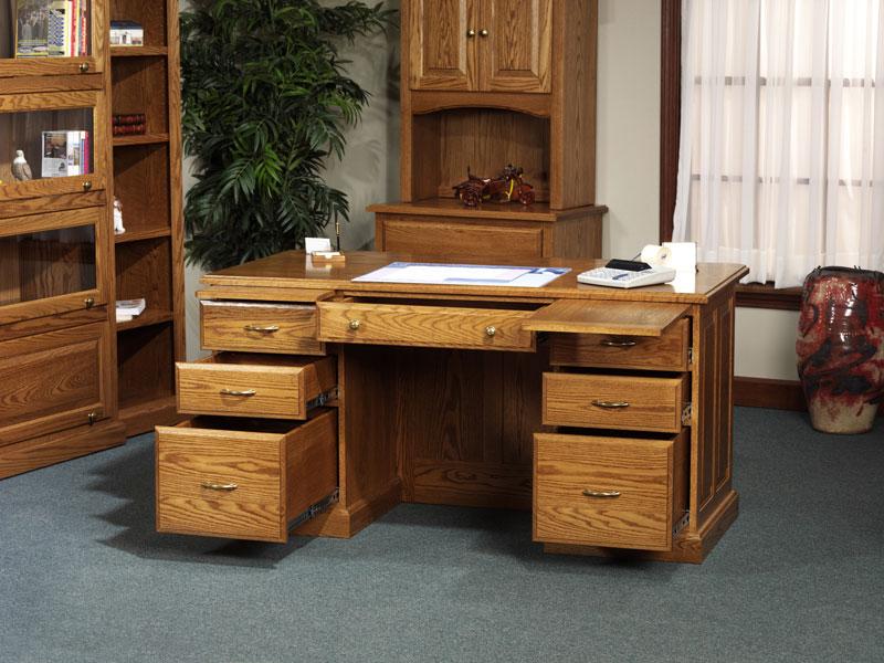 Rustic Americana Hardwood Executive Desk Home Office: Highland Executive Desk In Solid Hardwood