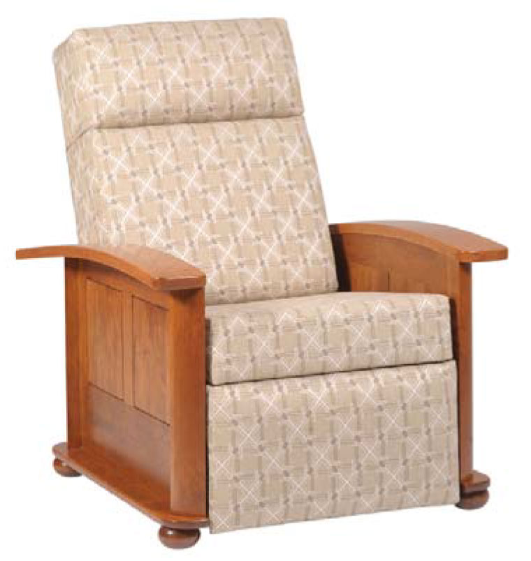 Metro 8040 Recliner in Rustic Cherry with an OCS 108 Stain and 2216-K Lacoste Fabric