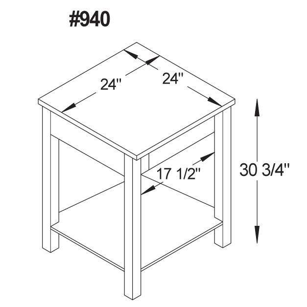 Mission Modular Corner Table In Solid Hardwood