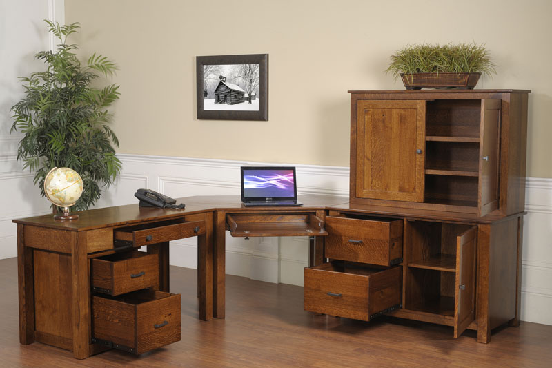 Mission Modular Corner Desk in Quartersawn White Oak with an Asbury