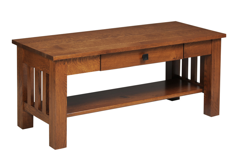 Mission Coffee Table With Drawer In Solid Hardwood Ohio Hardwood Furniture
