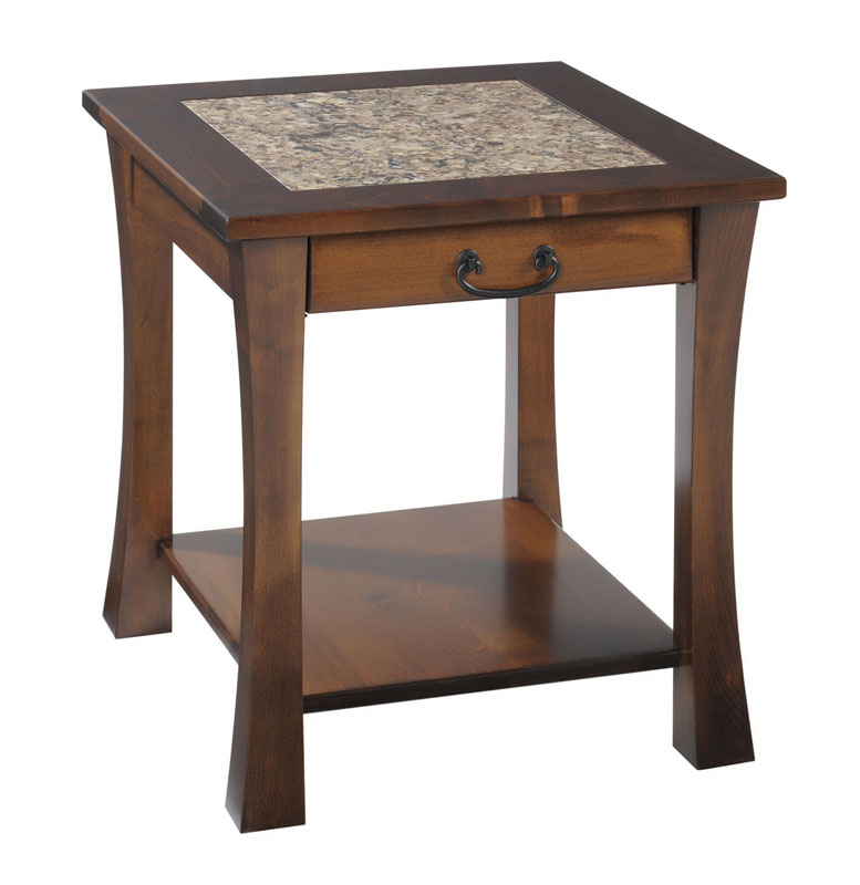 Woodbury Cambria End Table In Brown Maple With An OCS 117 Asbury Stain.  Hardware Is