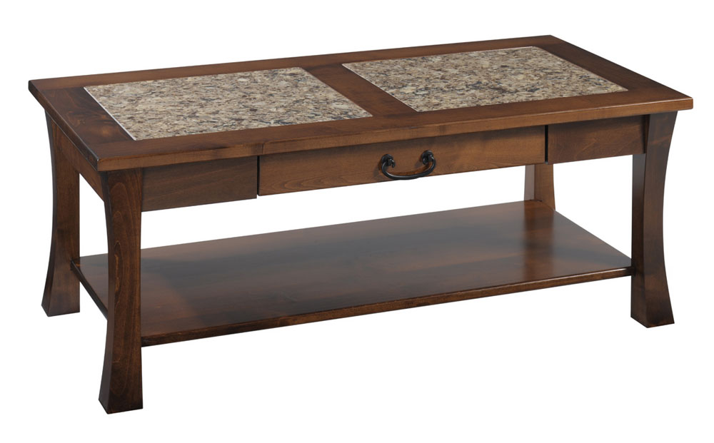 Woodbury Cambria Coffee Table In Brown Maple With An OCS 117 Asbury Stain.  Hardware Is