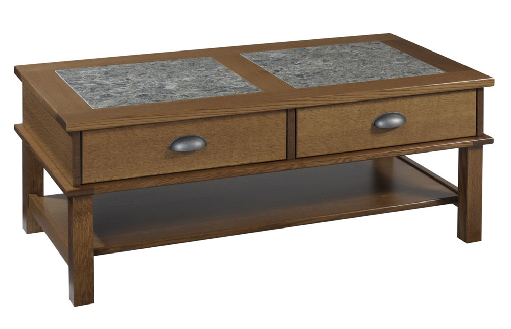 Buckhannon Cambria Coffee Table In Quartersawn White Oak With An OCS 112 Provincial Stain Hardware