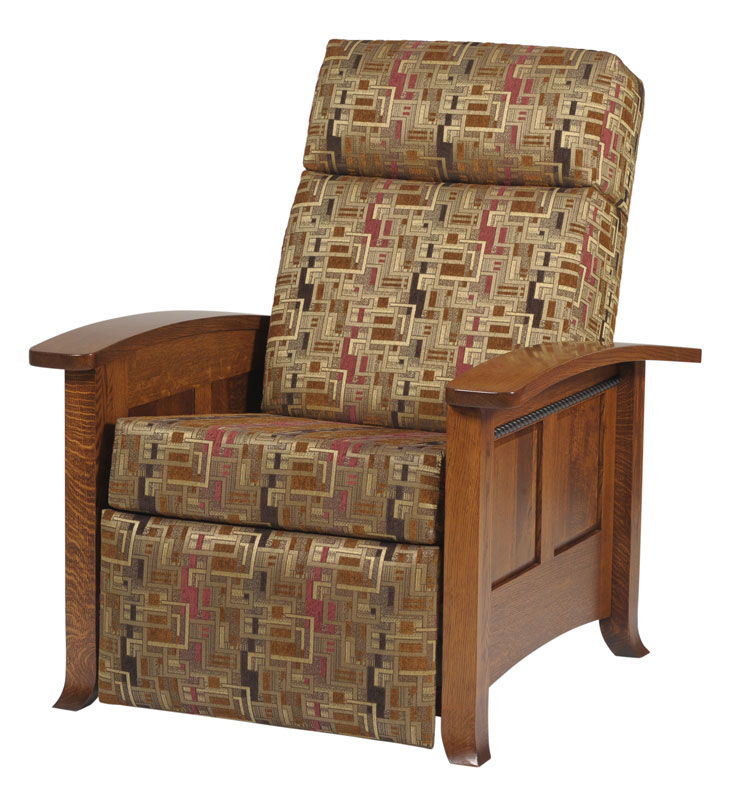 Cranberry Seating Recliner Shown in Rustic Quartersawn White Oak with OCS-113 Michael's Cherry Finish in 3359-K Crimson Fabric