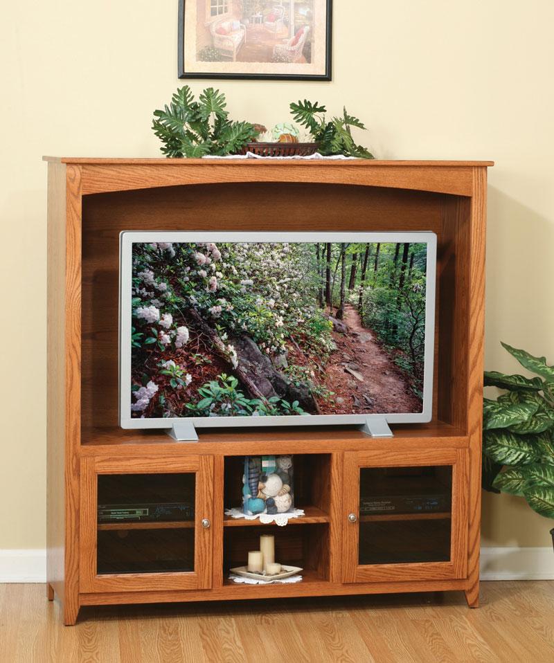 Economy 57 TV Stand With Glass Doors Ohio Hardwood Furniture
