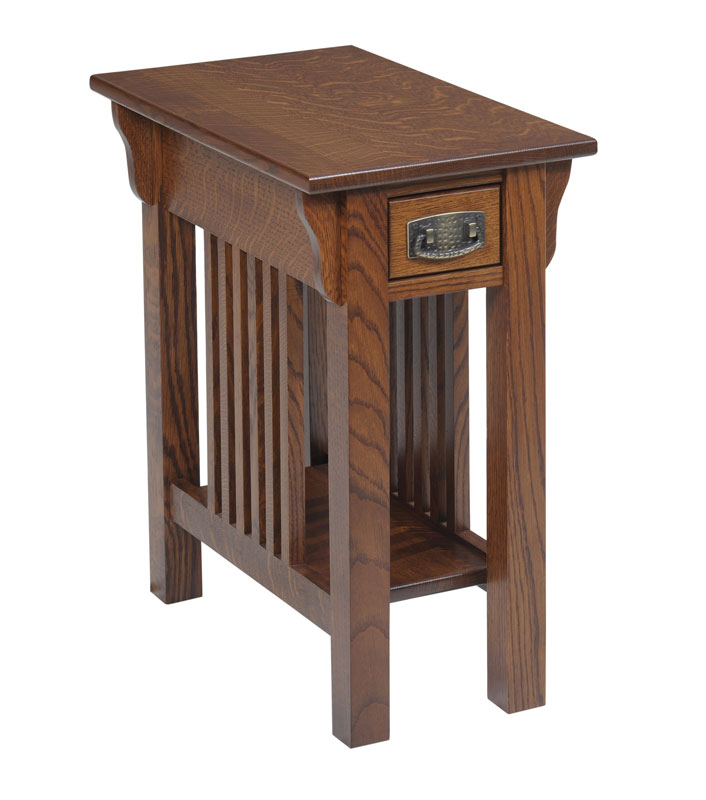 Lexington Mission 610 Chairside Table With Drawer In QuarterSawn White Oak  With A OCS 113 Stain