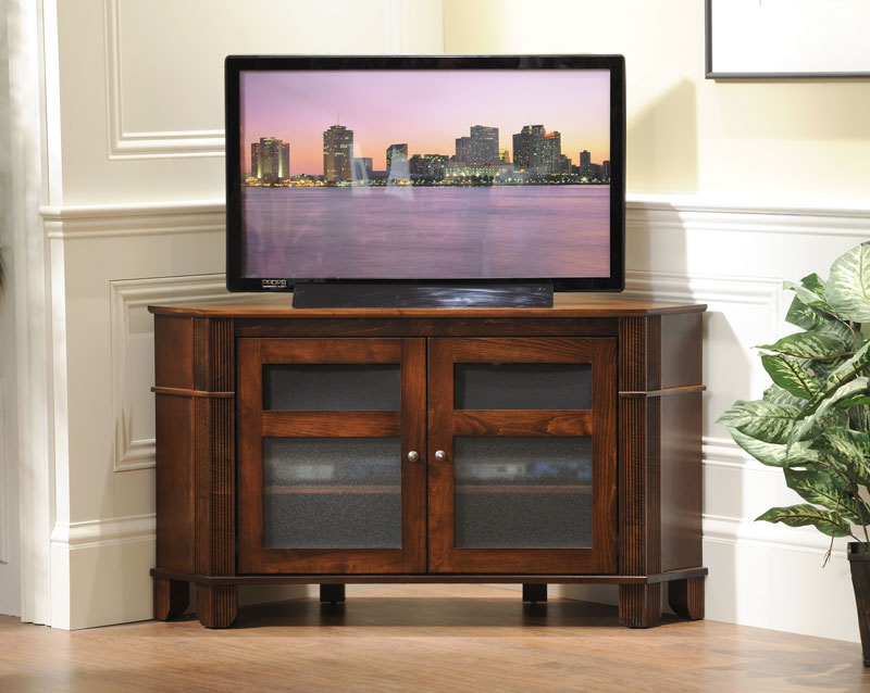 Arlington 2 Door Corner TV Stand in Solid Hardwood Ohio Hardwood