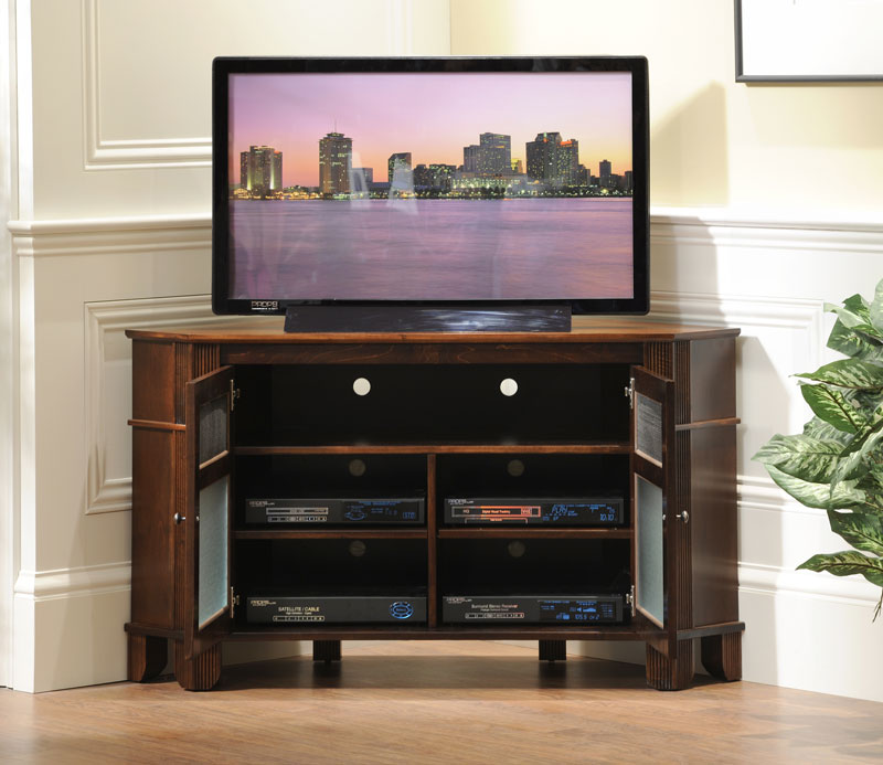 Arlington 2 Door Corner TV Stand In Solid Hardwood Ohio