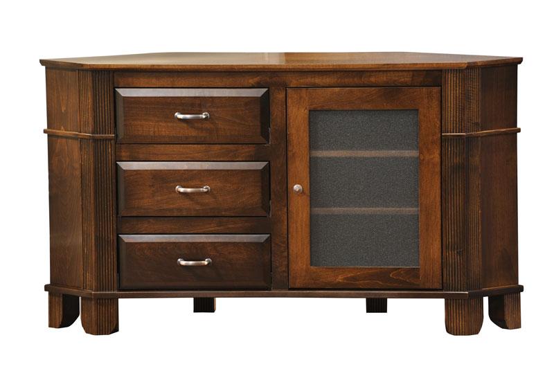 arlington 3 drawer corner tv stand in solid hardwood ohio hardwood