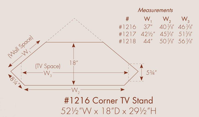 Arlington 3 Drawer Corner TV Stand In Solid Hardwood