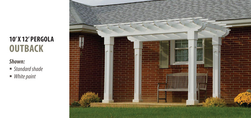 10' x 12' Outback Pergola in White with Standard Shade