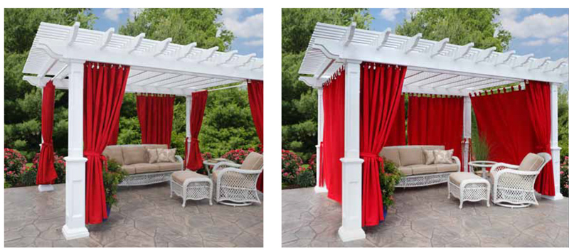 Pergola Showing Curtains Tied and Open - Pergola Curtains, Privacy Panels And Dia Shade - Ohio Hardwood Furniture