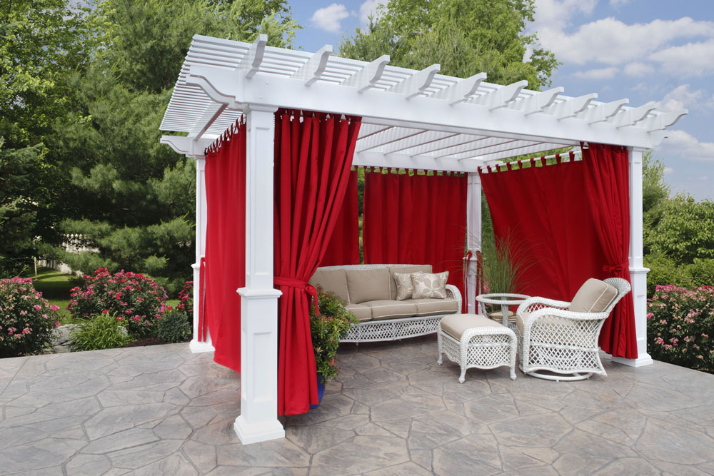 "12' x 16"" Vinyl Pergola in White Vinyl, Savannah Posts, Regular Shade and Canvas Jockey Red Curtains"