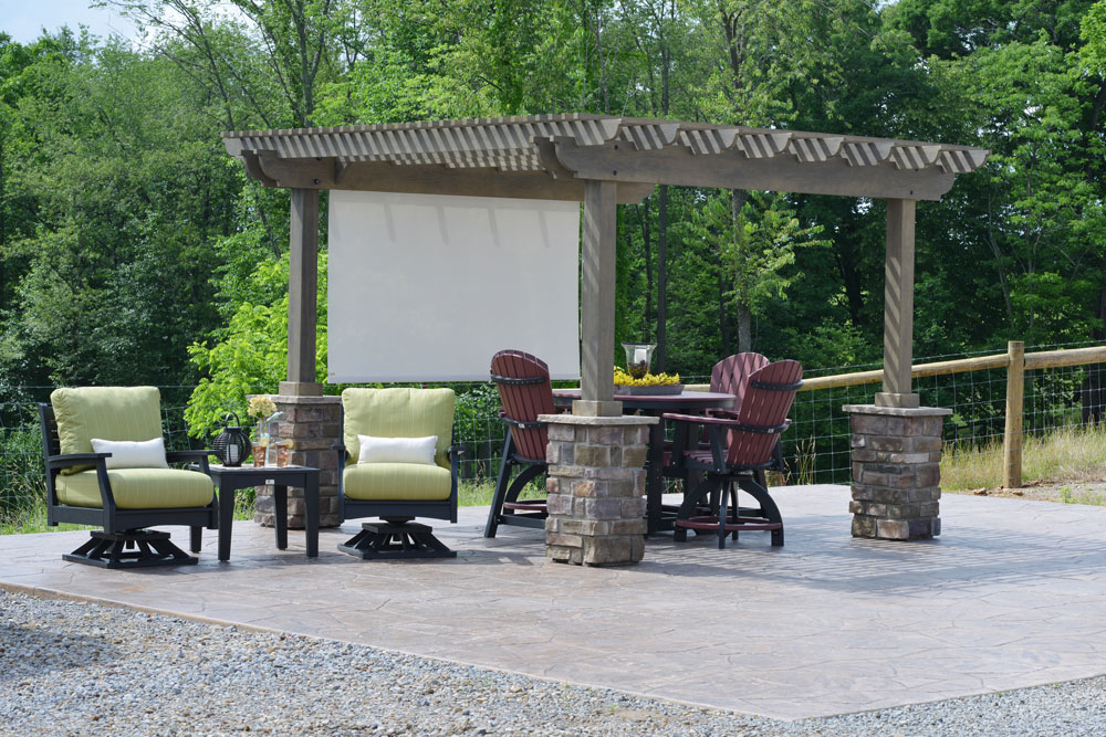 12' x 12' Outback Pergola in Storm Cloud Gray Stain and Stone Columns