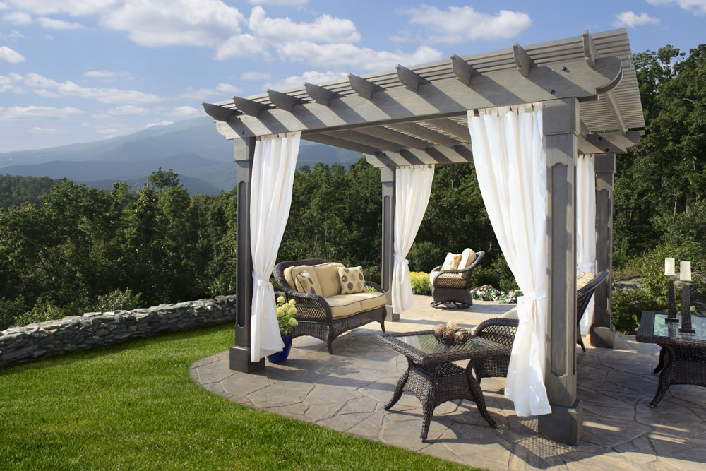 12' x 12' Wood Pergola with an Outback Top and Grandfather Posts.  Also Shown with Curtains.