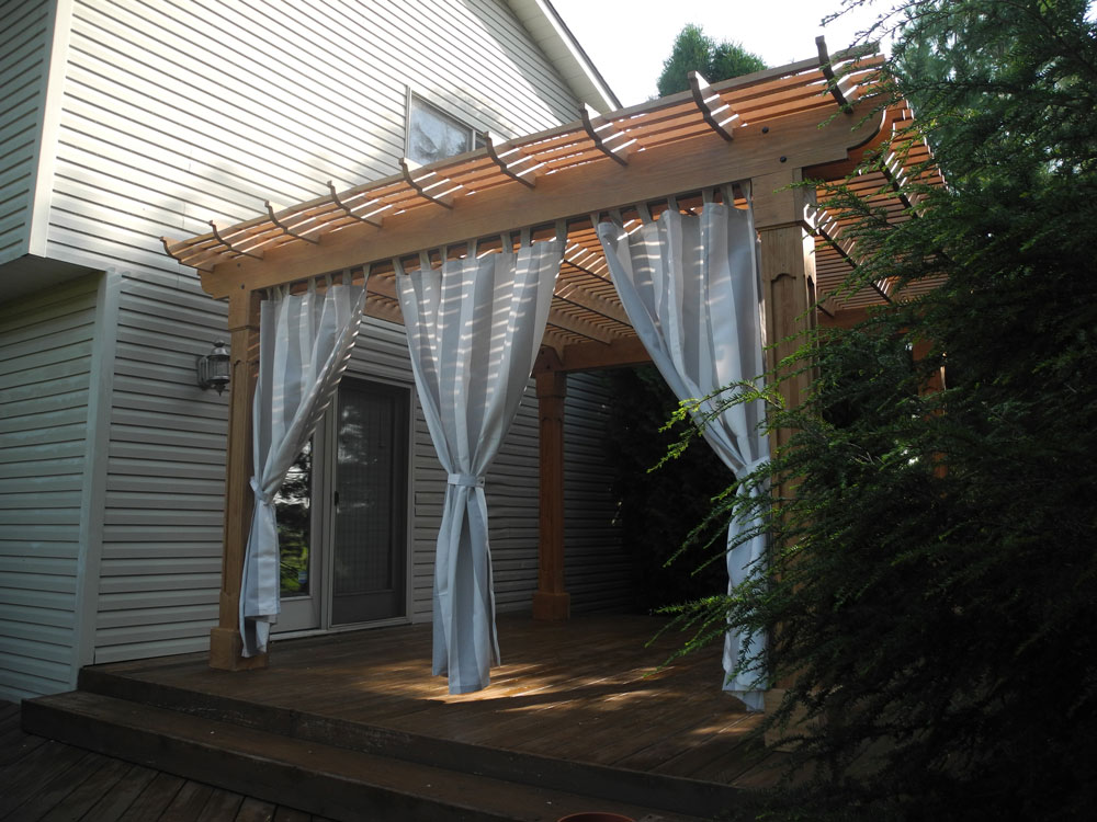14' x 14' Outback Pergola in Cedartone Stain and Solana Seagull Curtains