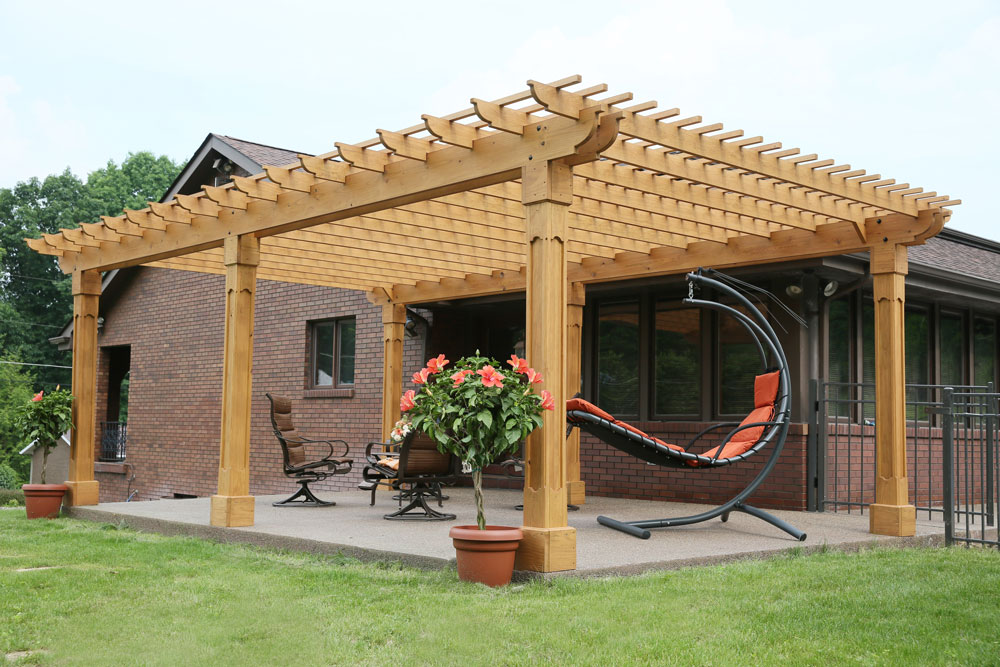 15' x 23' Outback Pergola in Cedarstone Stain and Grandfather Posts