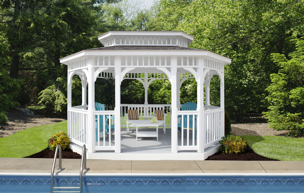 10' x 14' Belmont White Vinyl Gazebo with a Classic Roof and American Rail