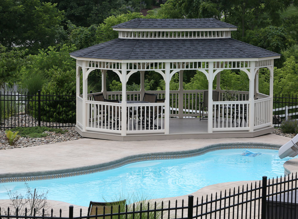 12' x 20' Belmont Almond Vinyl Gazebo with Classic Roof and American Rail