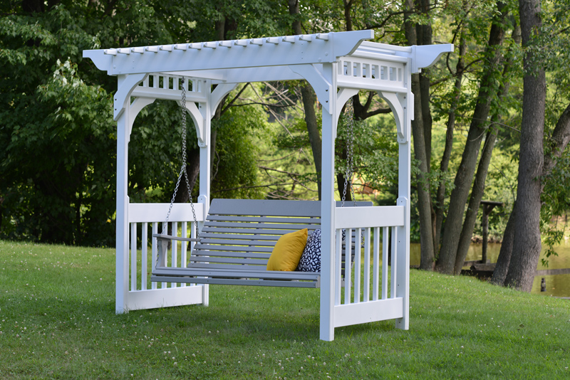 White Vinyl Arbor with a Swing (sold separately)