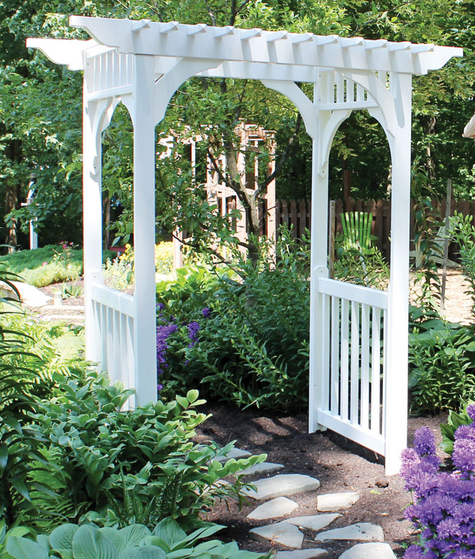 Vinyl Sidewalk Arbor in White