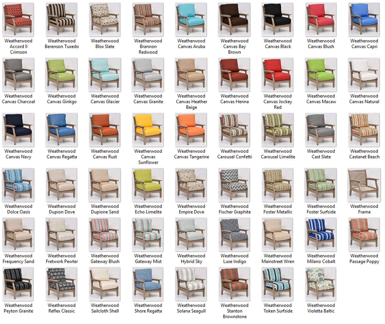 Classic Terrace Frame and Fabric Color Combinations