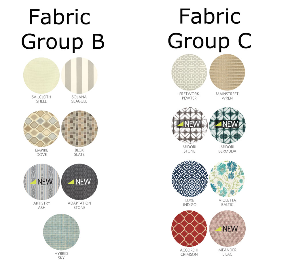 Sunbrella Cushion Fabrics - Group B and Group C
