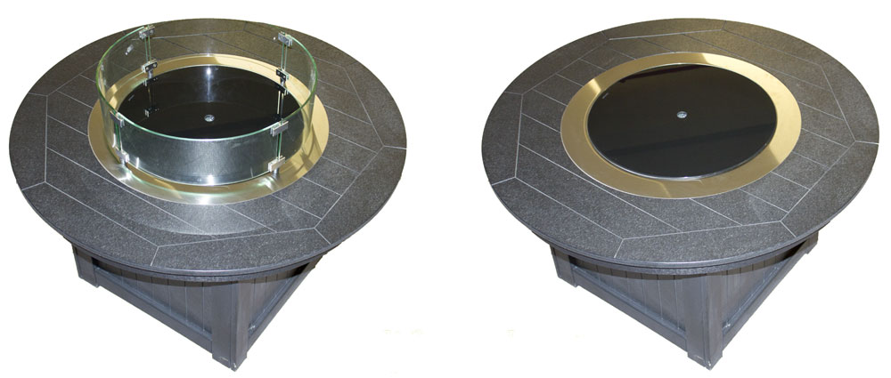 Optional Fire Pit Glass Burner Cover and Glass Wind Guard