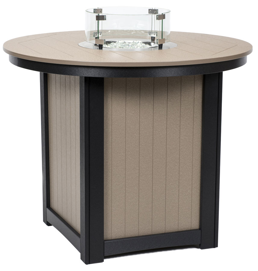Donoma Poly-Top Counter Height Fire Table in Weatherwood and Black