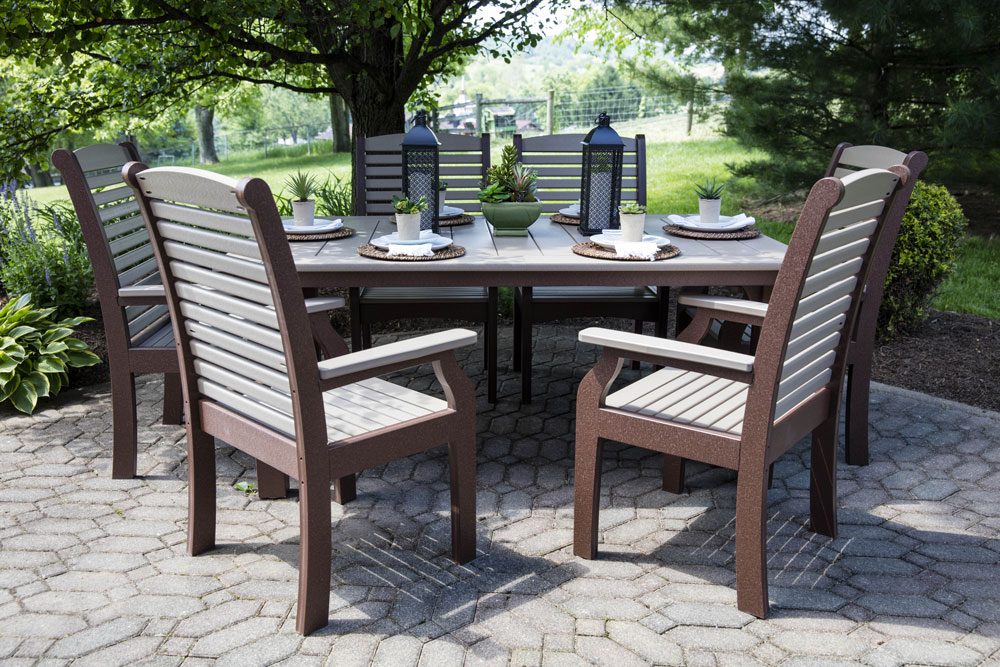 "Homestead 44"" x 72"" Dining Table with Classic Terrace Dining Chairs in Weatherwood on Chocolate"
