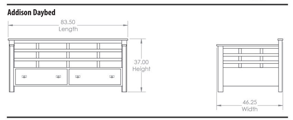 Addison Day Bed Dimensions