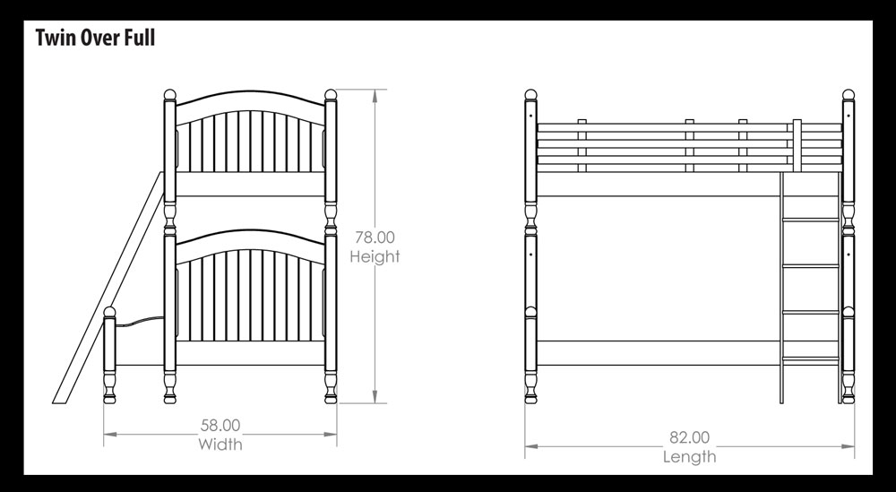 Cape Code Twin Over Full Bunk Bed Dimensions