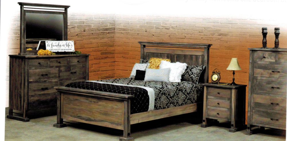 Carla Elizabeth Bedroom Collection in Brown Maple and Gabriel's Gray Stain