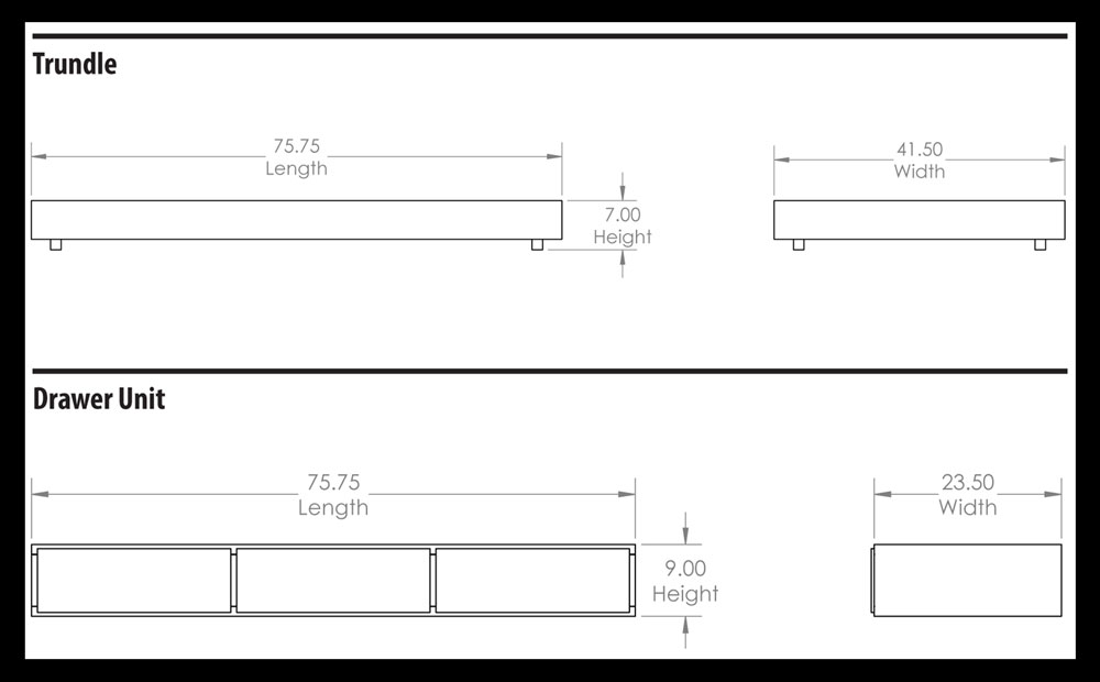 Trundle and Drawer Unit Dimensions for Day Beds