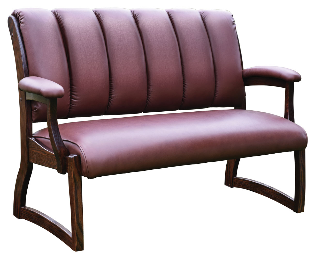 Edelweiss Bench shown Red Oak with OCS-228 Tobacco Stain with Pecan Leather