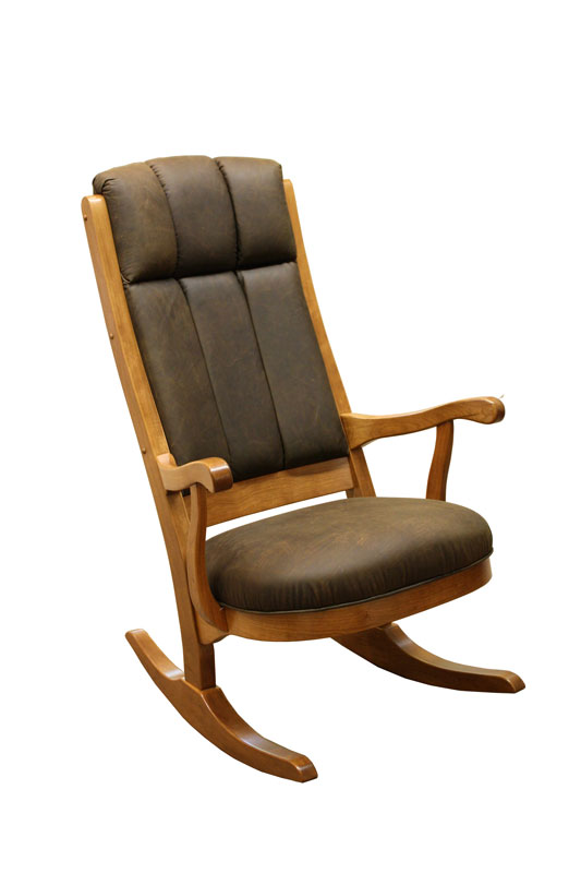 Lincoln Rocker In Solid Hardwood And Fabric Or Leather