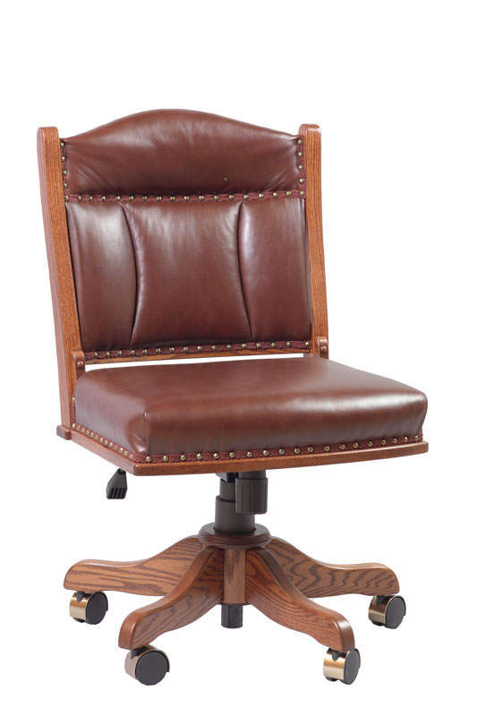 Low Back Side Desk Chair with Gas Lift and Five-Star Base in Leather