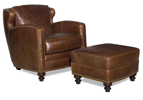 CC Leather 1449 Chair and 1449 Ottoman