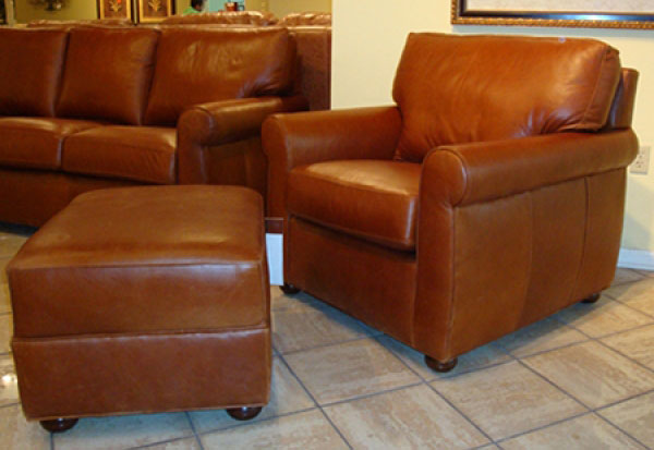 CC Leather 280 Sullivan Chair and 280 Ottoman