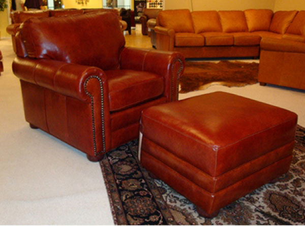 CC Leather 365 Deacon Chair and 365 Ottoman