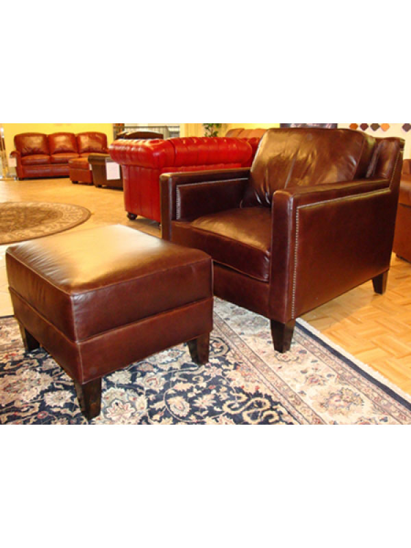 CC Leather 390 Filmore Chair and 390 Ottoman