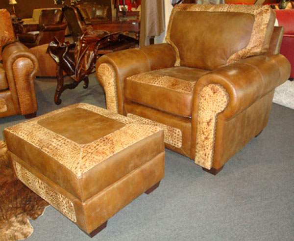 CC Leather 540 Dallas Chair and 540 Ottoman
