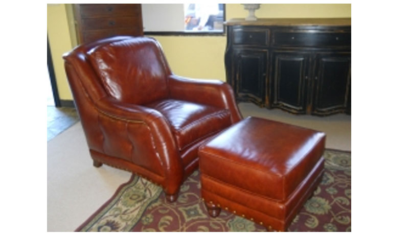 CC Leather 881 Reagan Chair and 881 Ottoman