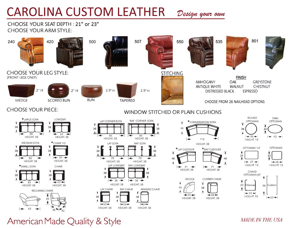Carolina Custom Leather Custom Program - Design Your Own