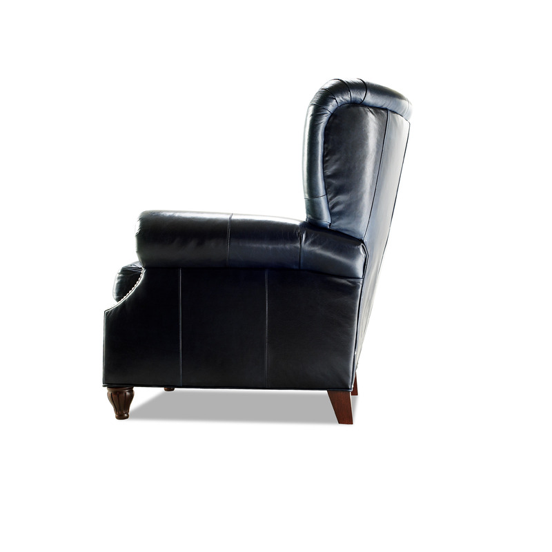 Avenue High Leg Reclining Chair CL702-10 in Echo Blue Marlin Leather and Nail Trim  sc 1 st  Ohio Hardwood Furniture & Avenue High Leg Reclining Chair - Ohio Hardwood Furniture islam-shia.org