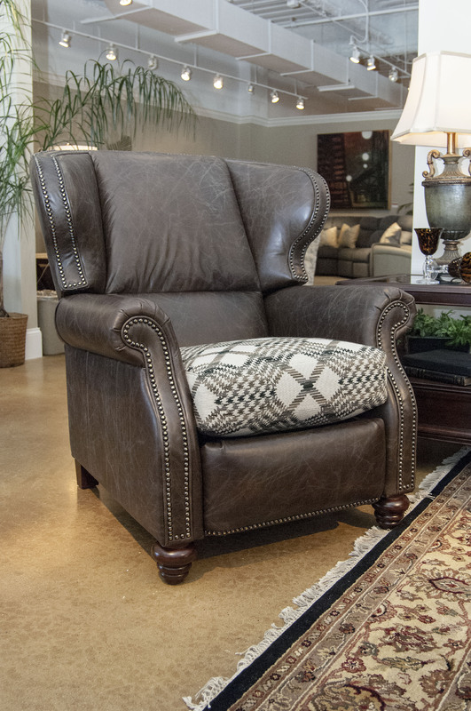 Harold High Leg Reclining Chair CL735-10 in Saddle Cocoa Leather Burberry Tweed Fabric & Harold High Leg Reclining Chair - Ohio Hardwood Furniture
